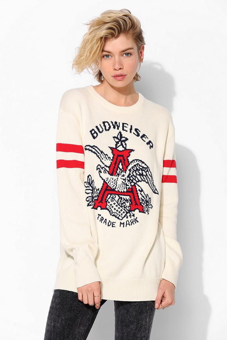 This is kind of more casual than I would normally wear, but I like it. Junk Food Budweiser Sweater #urbanoutfitters