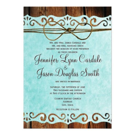 Brown and Turquoise Country Style Wedding Invitations for a barn wedding or rustic wedding.  #wedding http://www.rusticcountryweddinginvitations.com/vintage-paper.html