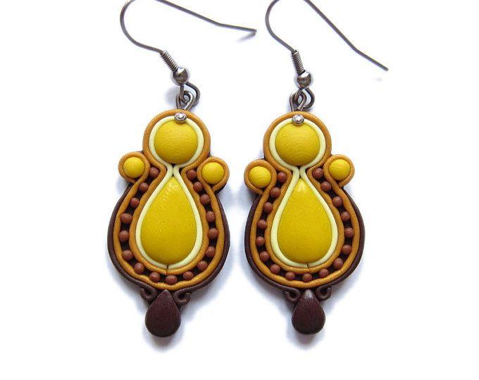 Pendientes de ámbar amarillo, pendientes marrones, miel pendientes, pendientes de arcilla de polímero, pendientes elegantes, pendientes pendientes, joyas de OOAK hecha a mano de Fimo
