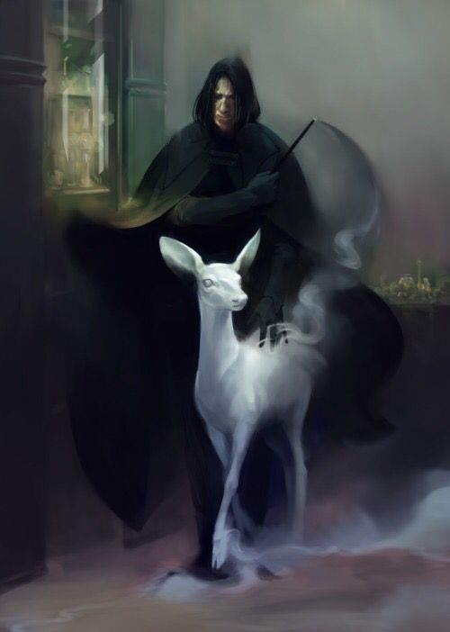 Severus Snape- only death eater capable of conjuring a patronus.