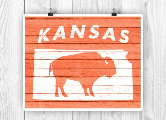 Kansas Bison poster Kansas state map art Faux wood by PrintCorner