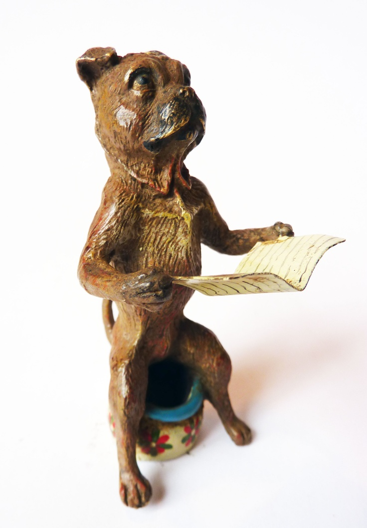 Franz Bergman Cold Painted Bronze Pug - sitting on a potty and reading the paper