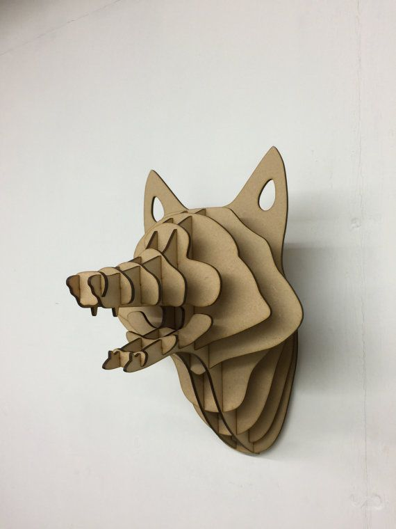 Fox madera grande trofeo cabeza de Animal de la pared decoración arte - corte láser 3D del colgante de pared