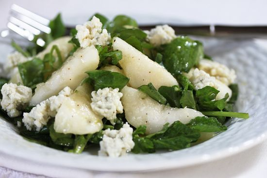 Pear, Blue Cheese & Watercress Salad (can use Goat Cheese instead of Blue and add pine nuts for some crunch)
