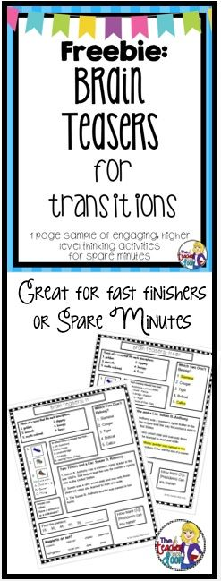 Freebie: One page sample (plus a key and teacher notes). Great higher level thinking skills to use with the whole class during transitions (no printing needed). Perfect for fast finishers and oh so nice to have on hand for a sub.
