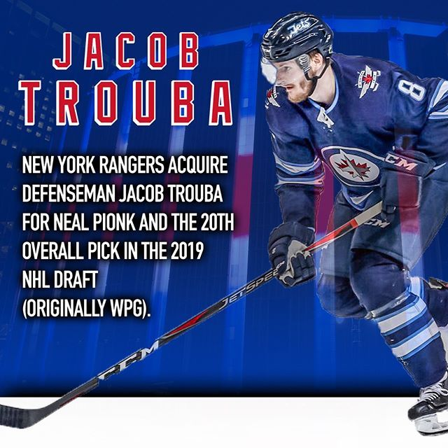 Jacob Trouba Is Broadway Bound The Rangers Acquire The Bliueliner For Neal Pionk And The 20th Overall Choice Nyr Full Story Http Esny Live D3060