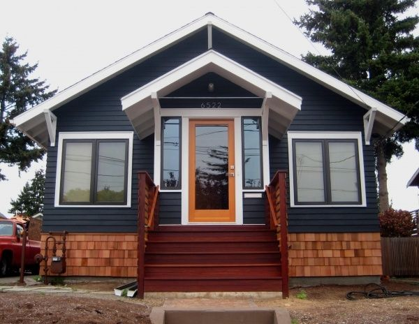Dark gray house with natural wood trim outdoor google - What type of wood for exterior trim ...