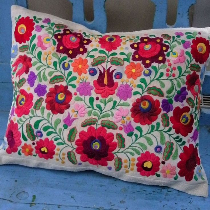 Cushion cover form vinatge Matyo embrodierey Maty oi san area in Hungary consisting of 3 towns famous for their folk art Matyo Folk art was recenty