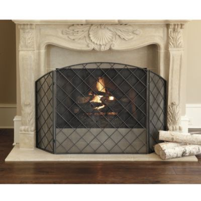 "Would love to see this ""Chanel Quilted"" fireplace screen on your fireplace. Perfect silhouette of leather sofa quilting."