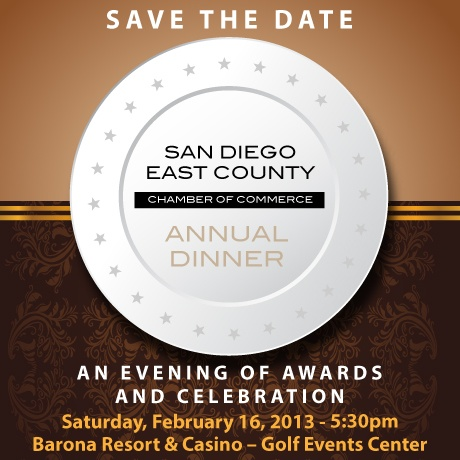 An Evening Of Awards And Celebration    Join the San Diego East County Chamber of Commerce for an evening of celebration as we honor businesses and individuals whose accomplishments throughout the past year have made a tremendous and lasting impact on our community.  http://business.eastcountychamber.org/Events/details/annual-awards-dinner-824