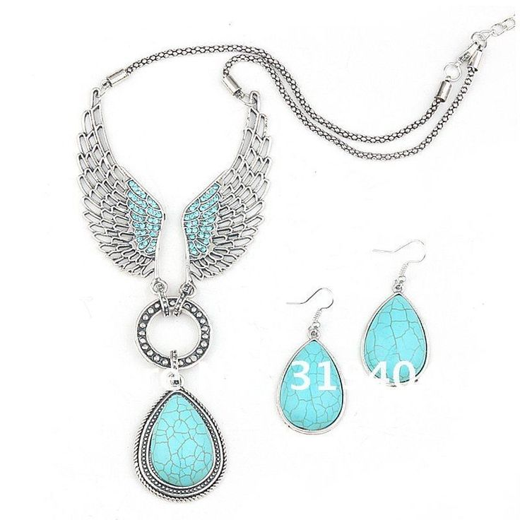 MN2296  2012 Hot sale angle wing Turquoise Jewelry Set Vintage Tibet Silver Necklace Earring Set  Free Shipping 227,91 руб.