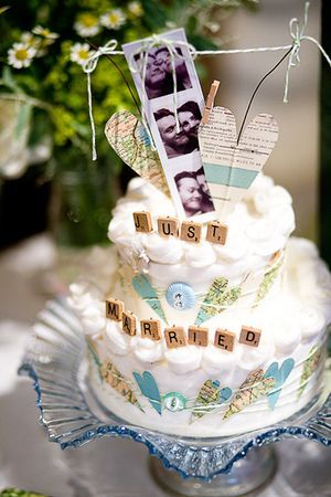 Super cute wedding topper and decorating idea... links to invites & love of travel