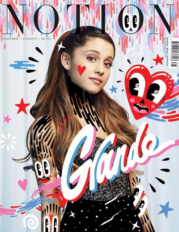 Notion magazine featuring Ariana Grande, with doodles from Hattie Stewart