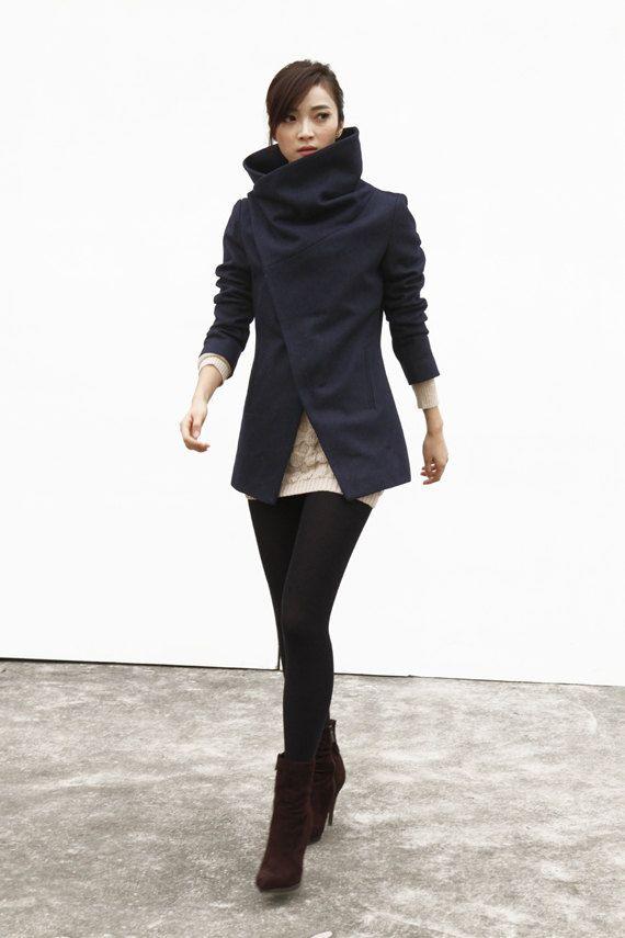 Navy Blue High Collar Jacket Winter Wool Women Coat - Custom Made - NC493 on Etsy, $169.99
