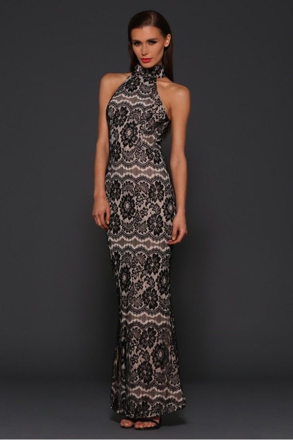 Jacinta gown featuring lace and nude lining.