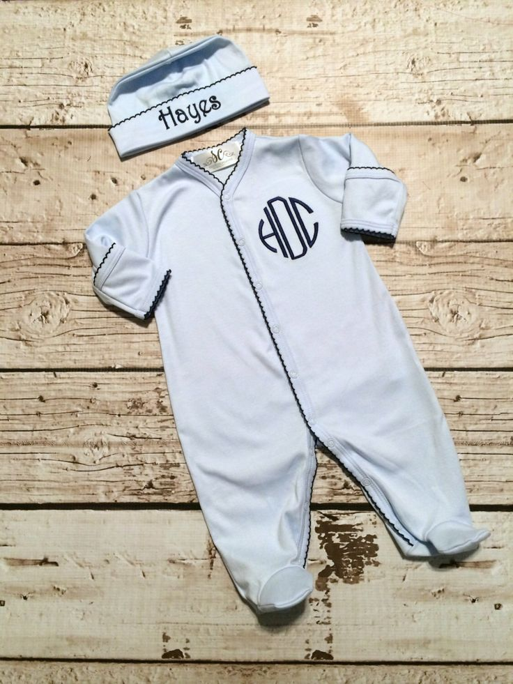 Baby Boy Coming Home Outfit - Baby Blue and Navy Footed Sleeper - Hat Blanket Monogram by sunfirecreative on Etsy https://www.etsy.com/listing/211157385/baby-boy-coming-home-outfit-baby-blue