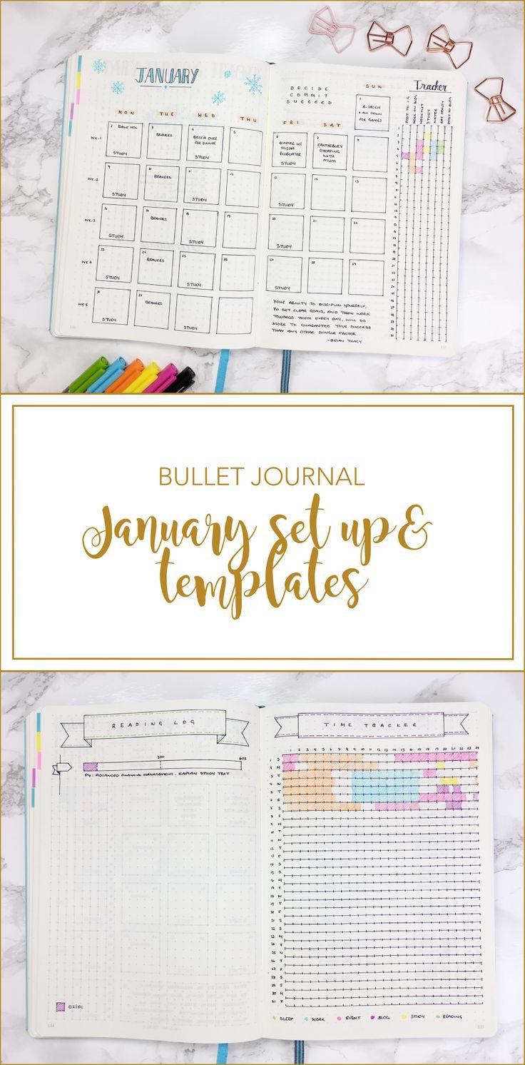 Bullet journal January Set Up & template