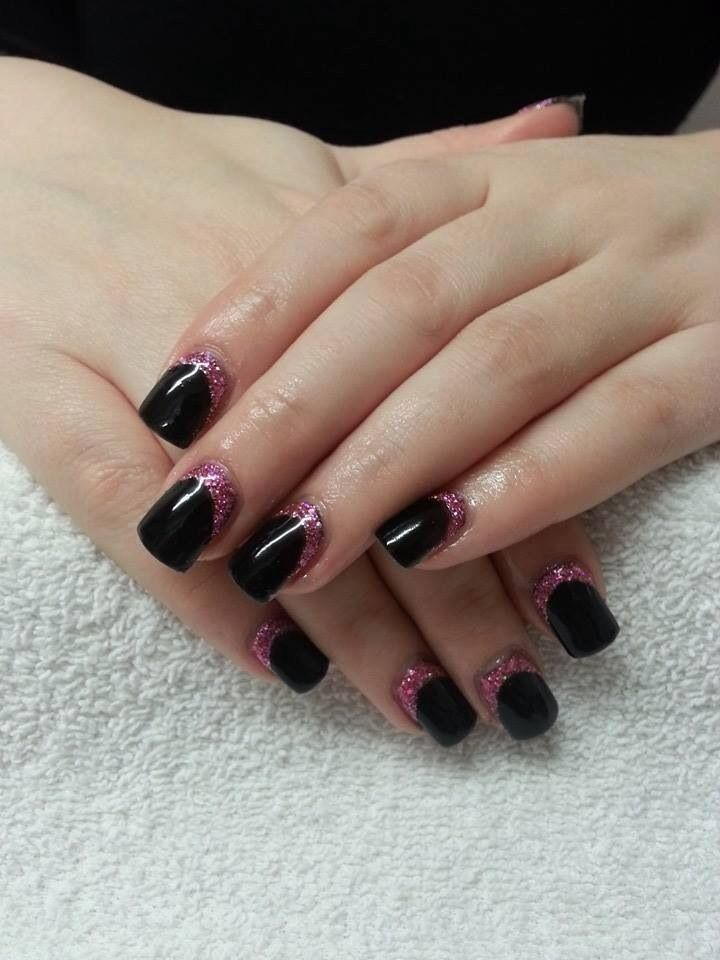 Black gel with pink glitter