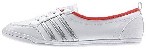 adidas Damen Piona W Turnschuhe, Blanco / Plateado / Rojo (Ftwbla / Plamat / Rojbri), 42 EU - http://uhr.haus/adidas/adidas-damen-piona-w-turnschuhe-blanco-plateado