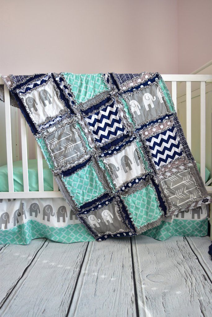 Custom elephant crib set in gray, mint, and navy blue for an elephant nursery bedding. Beautiful baby crib bedding for your baby nursery. Elephant Nursery Theme