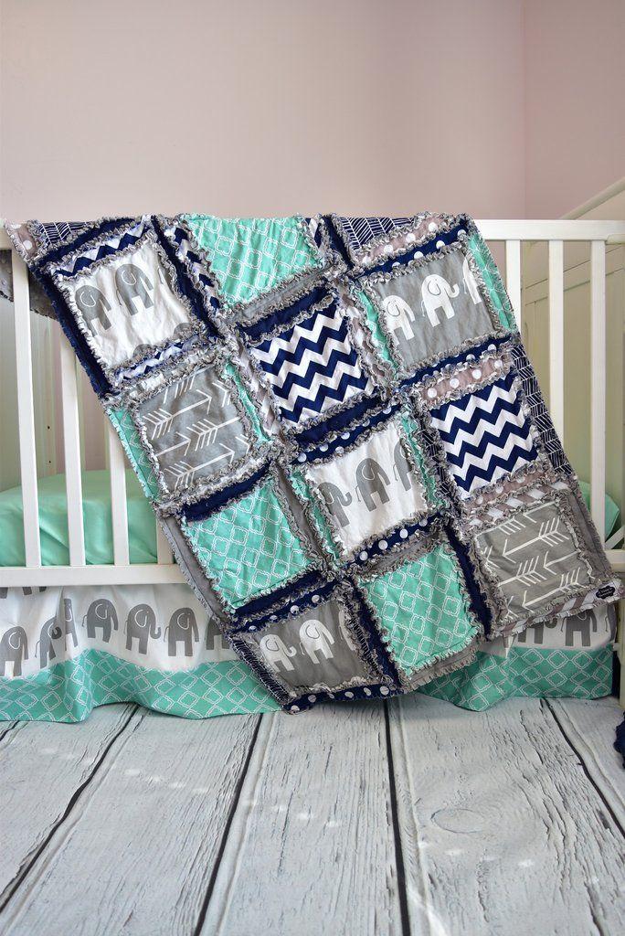 Custom elephant crib set in gray, mint, and navy blue for an elephant nursery bedding. Beautiful baby crib bedding for your baby nursery. Elephant Nursery Theme