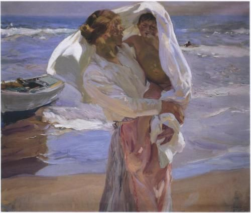 "Sorolla - Masterful colorist ""Just Out of the Sea"" 1915"