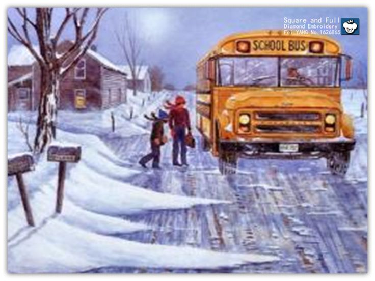 Winter snow, a large bus,diamond embroidery diamond mosaic sale diamond mosaic full gear Square drill paintings from rhinestones #Affiliate