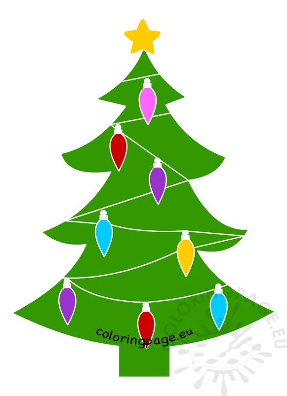 Christmas Tree With Lights Vector Cartoon Clipart Christmas Tree Coloring Colorful Christmas Tree Luxury Christmas Tree Unique Christmas Trees