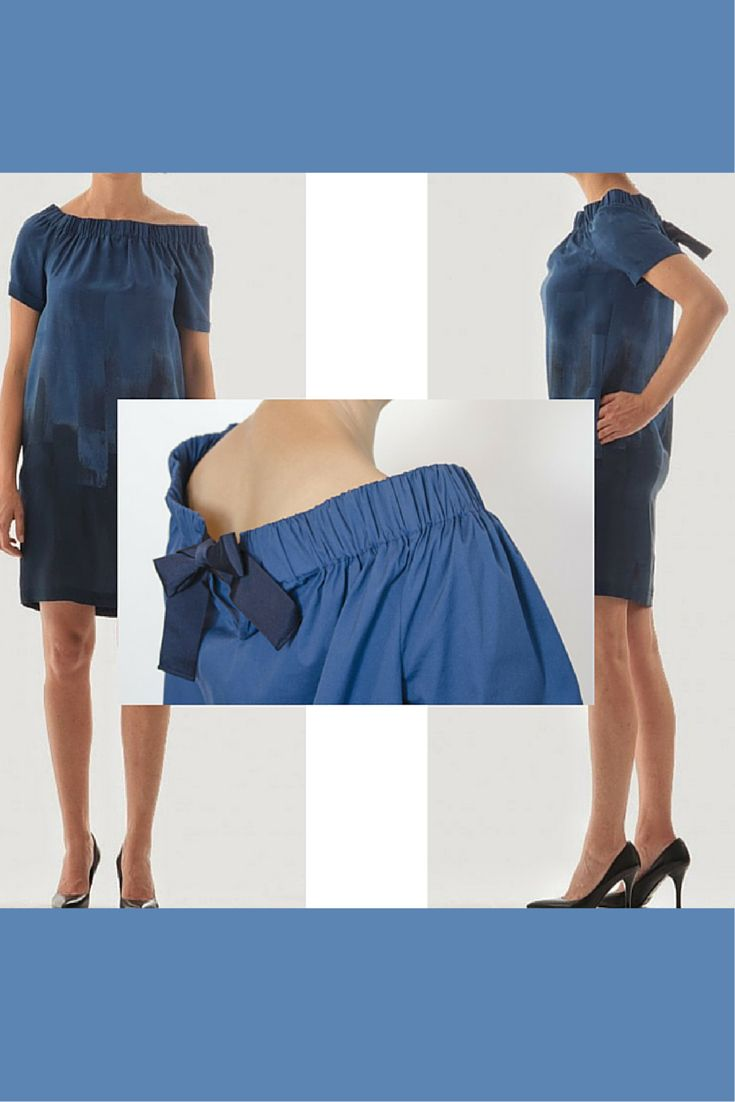 A #silk dress by # Rosso35 in the shaded tones of #blue. The wide neckline is closed with a #blow on behind . Two side #pockets. It is also available in our #Online #store www.lanamoda.it