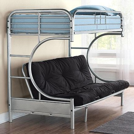 Metal Frame Twin Bunk Bed Over C Shaped Futon 2