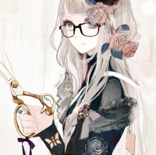 Garota Anime tesoura cabelo Branco culos fofa Animes E Mangs