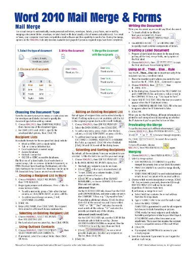Bestseller Books Online Microsoft Word 2010 Mail Merge & Forms Quick Reference Guide (Cheat Sheet of Instructions, Tips & Shortcuts - Laminated Card) Beezix Inc. $3.6 - http://www.ebooknetworking.net/books_detail-1936220350.html