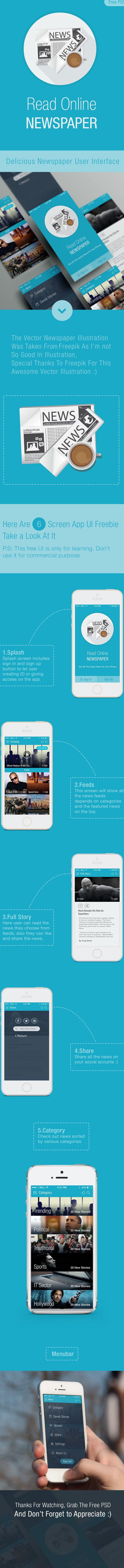 Online News Paper iOS APP UI (Free PSD) on Behance