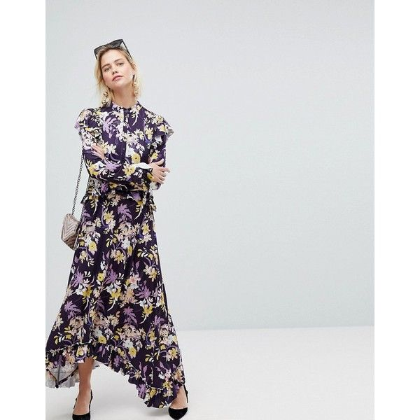 Warehouse Floral Print Frill Edge Maxi Dress ($83) ❤ liked on Polyvore featuring dresses, purple, maxi dress, long sleeve floral dress, long-sleeve maxi dresses, long maxi skirts and long sleeve maxi dress