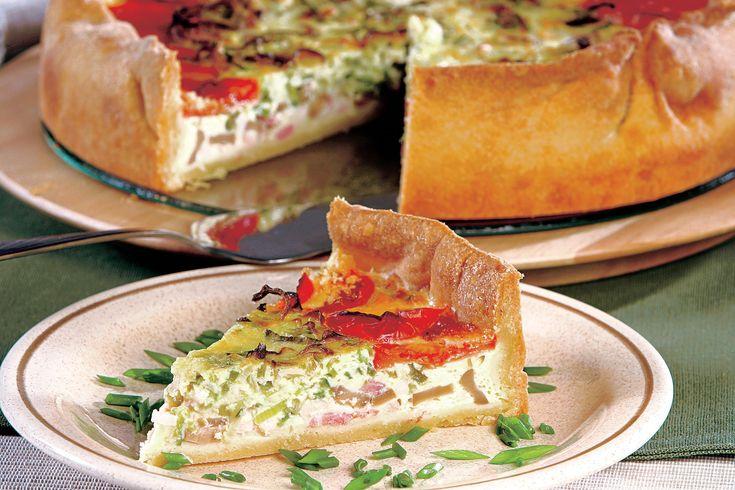 Tartă cu brânză, şuncă şi ciuperci