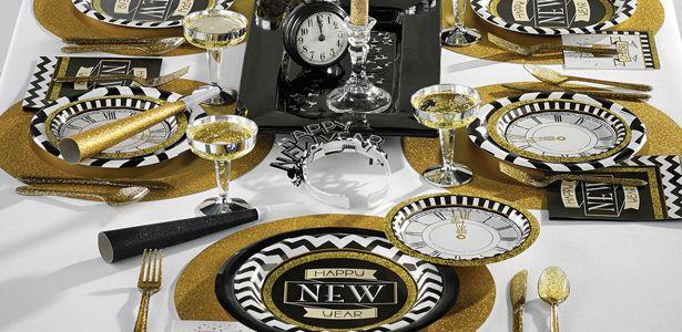 d co de table nouvel an happy new year noir et dor pas. Black Bedroom Furniture Sets. Home Design Ideas
