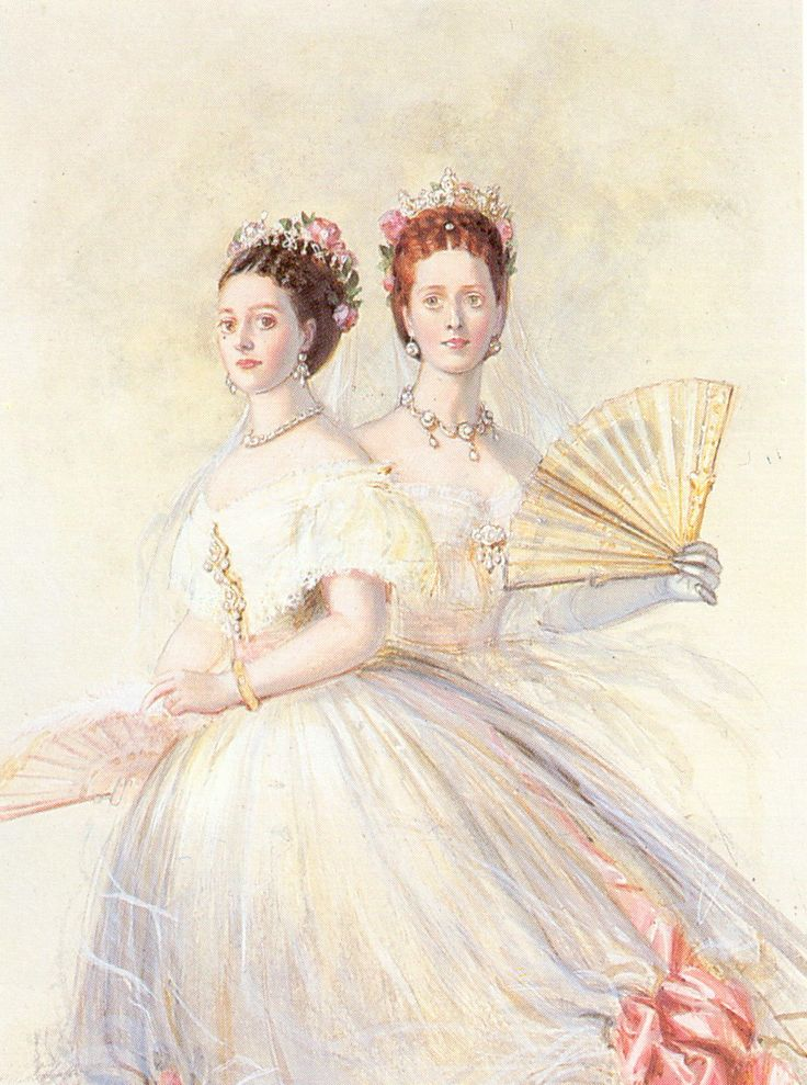1868 drawing by Winterhalter of the future empress of Russia and Queen of England. Dagmar (Marie Feodorovna) on left, Alexandra on right.
