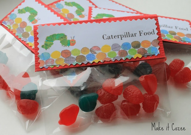 Very Hungry Caterpillar Food treat bags with free printable.