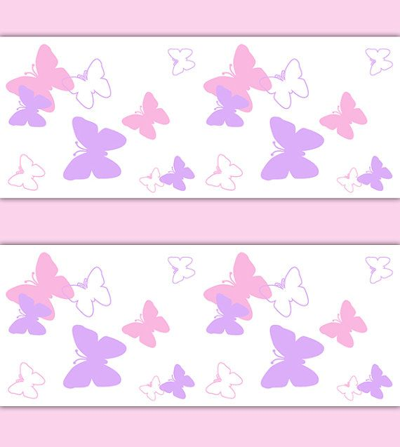Pink and Purple Butterfly wallpaper border wall decals for