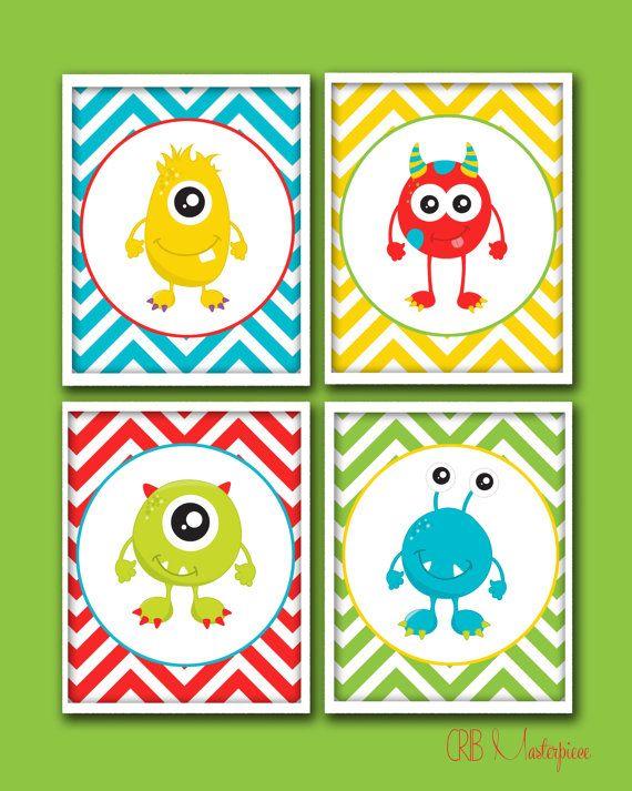 SALE - 20% - Cutesy Monster Nursery Art for Baby Boy - Baby Boy Nursery Art!