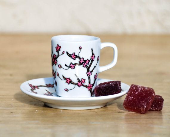 Cherry Blossom Espresso Cup and Saucer set - Hand Painted Valentine's Day Coffee Mug - Made to order