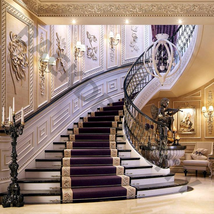 Luxury Home Interior Staircase: Purple Mansion Stair Backdrop
