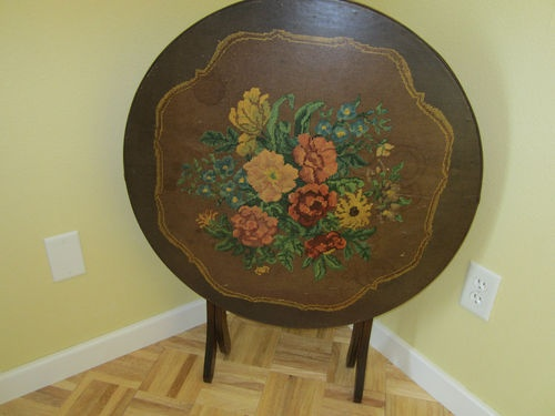 Antique folding Walnut Tilt Card Table round Floral needle point