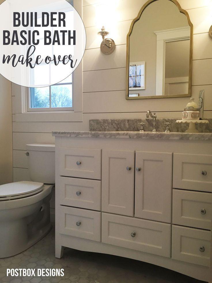 Update A Builder Basic Bath With Plan By Postbox Designs Interior E Design Cottage Farmhouse Bathroom Makeover Via Online