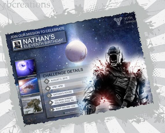 Does your child love video games? Here's a great idea for a birthday party! These printable Destiny Invitations, Destiny Party Invitations can be purchased at: https://www.artfire.com/ext/shop/product_view/12762558