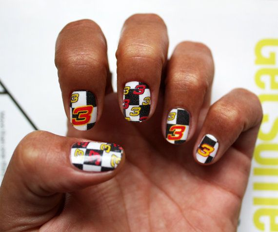 Dale Earnhardt - Nascar Racing - Nail Art Decals by NailSpin, $5.00 - 16 Best Nascar Nails Images On Pinterest Nascar Nails, Racing