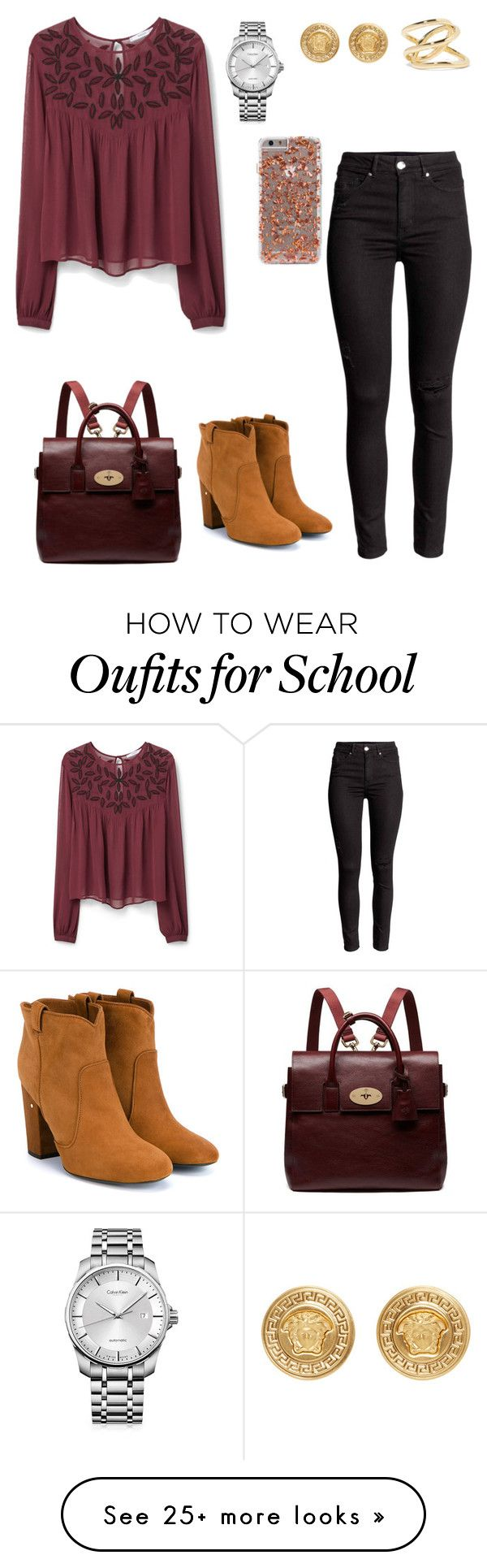 """School day:Tuesday"" by sweet-brownsuga on Polyvore featuring MANGO, Laurence Dacade, Calvin Klein, Versace, Jennifer Fisher, Mulberry, women's clothing, women, female and woman"