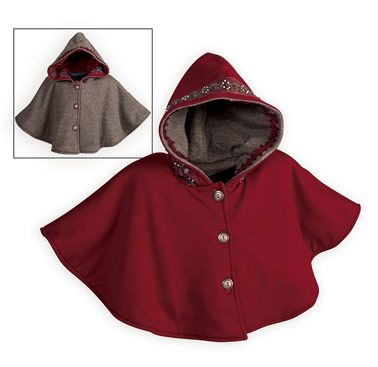 Keep her warm and cozy in this versatile hooded cape. Rusty red cape with beaded and sequined embellishments trimming hood reverses to soft, heather b