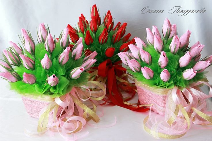 букет из бутонов роз в кашпо - Oksana-Ank