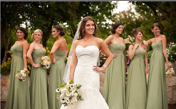 Olive Green Chiffon Mix  Bridesmaids DressProm by DidoCouture, $99.00